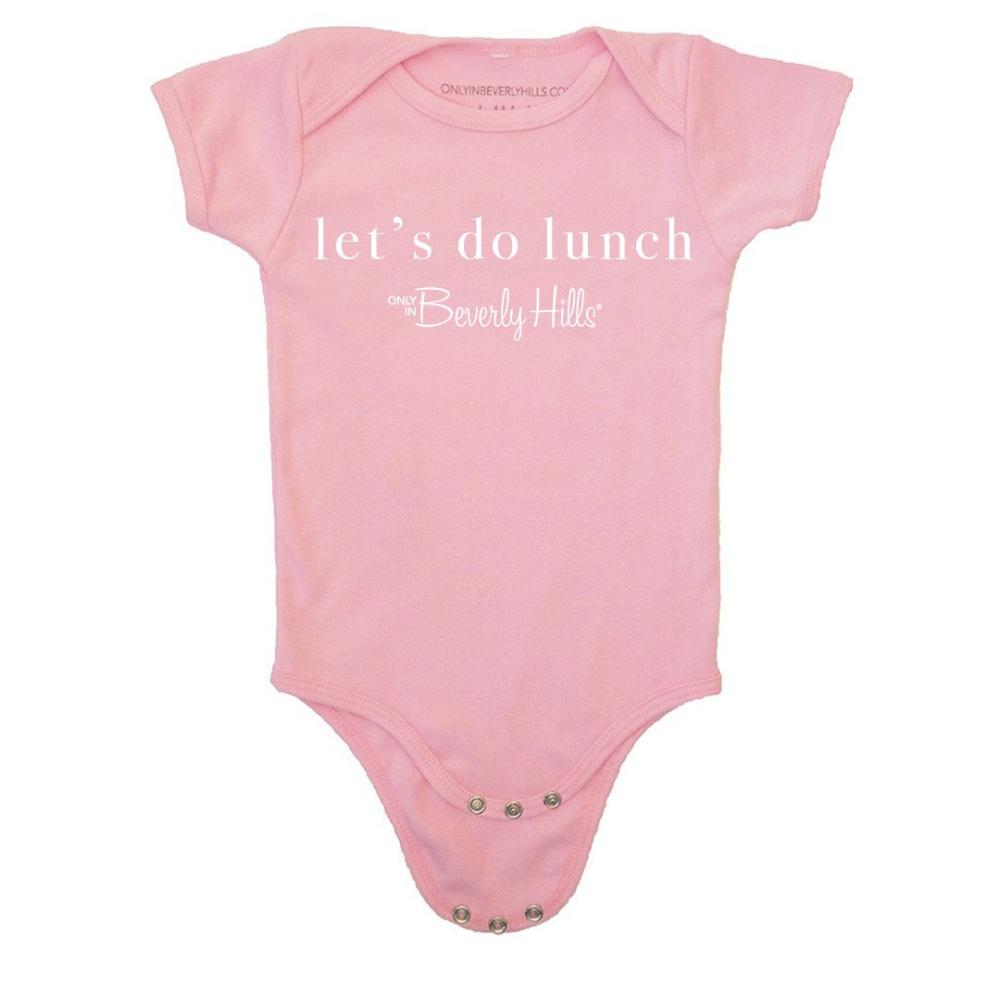"""let's do lunch"" baby onesie in pink"