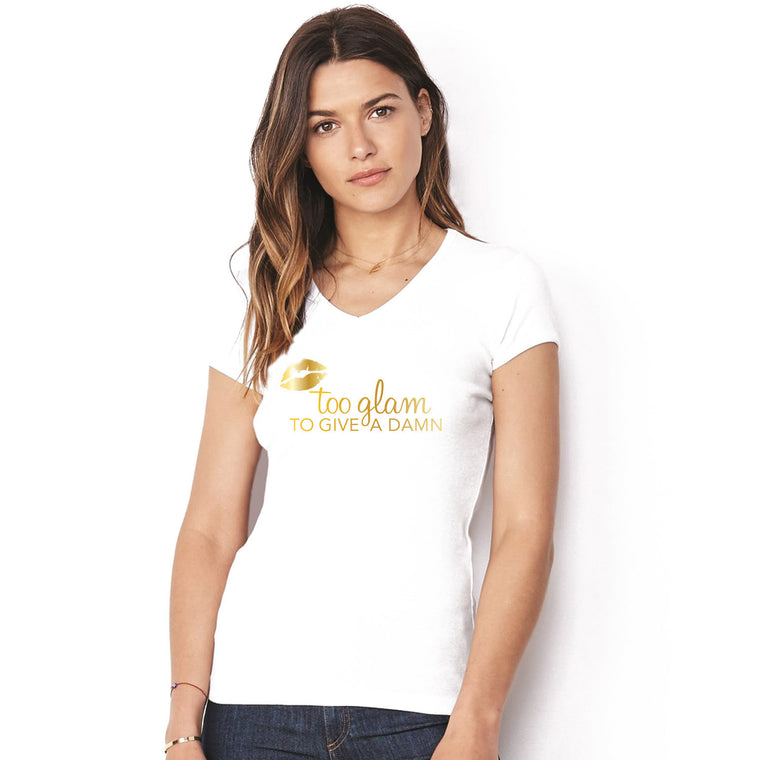 Sassy Beverly Hills white v neck with gold