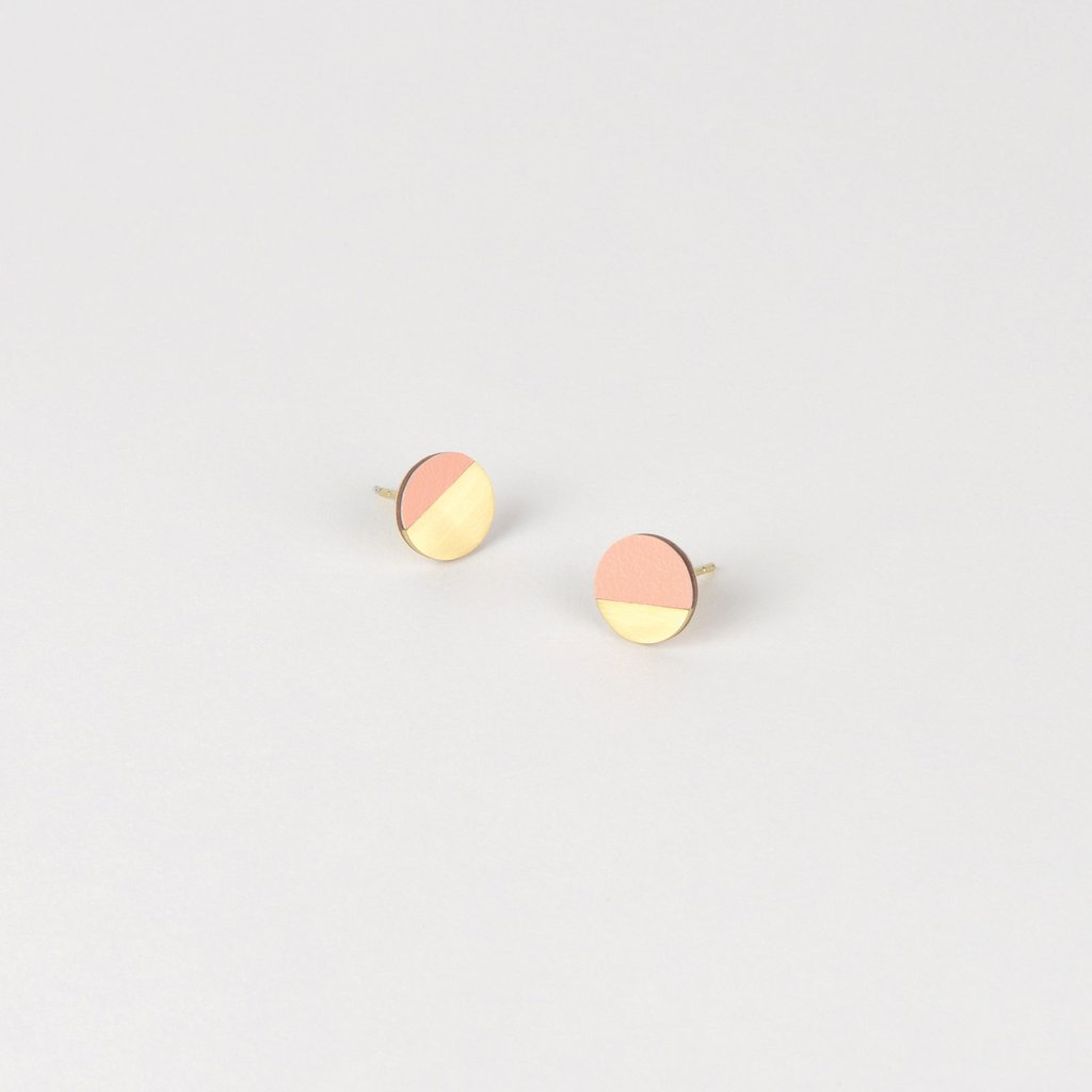 Form Circle Earrings Brass/Blush