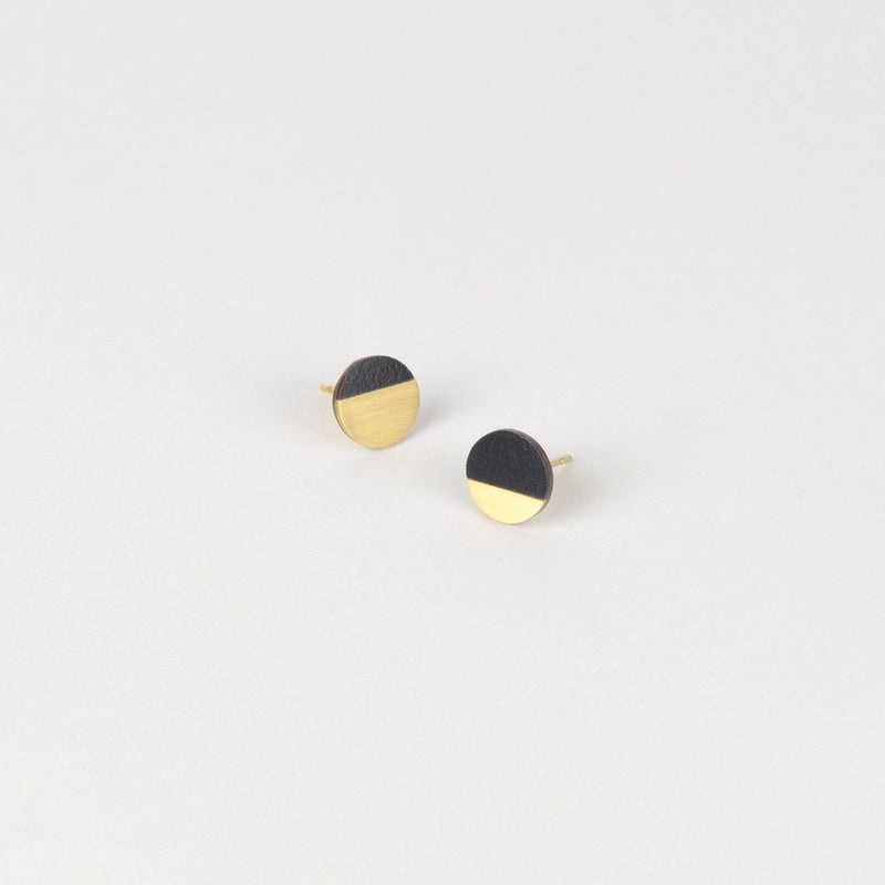 Form Circle Earrings Brass/Midnight