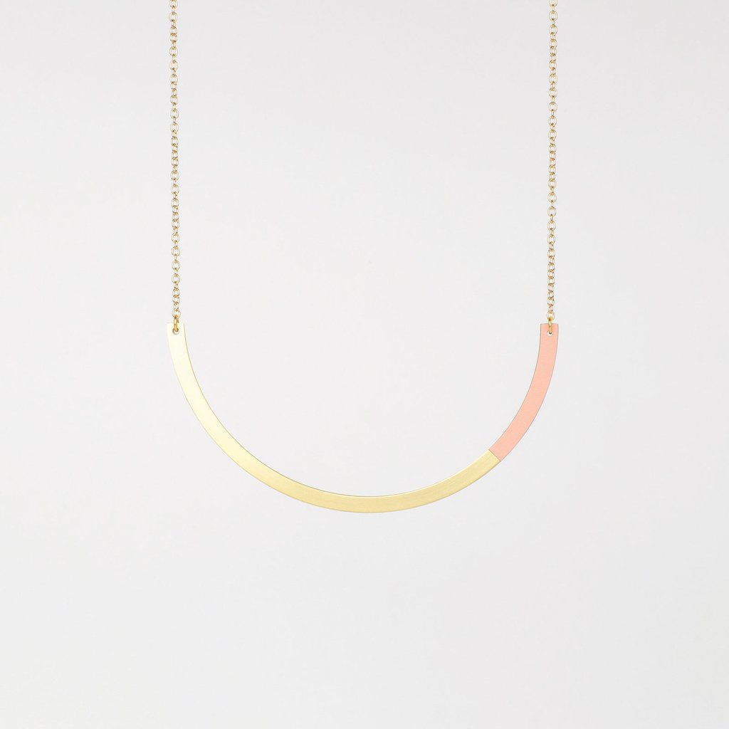 Form Circle Necklace Brass/Blush