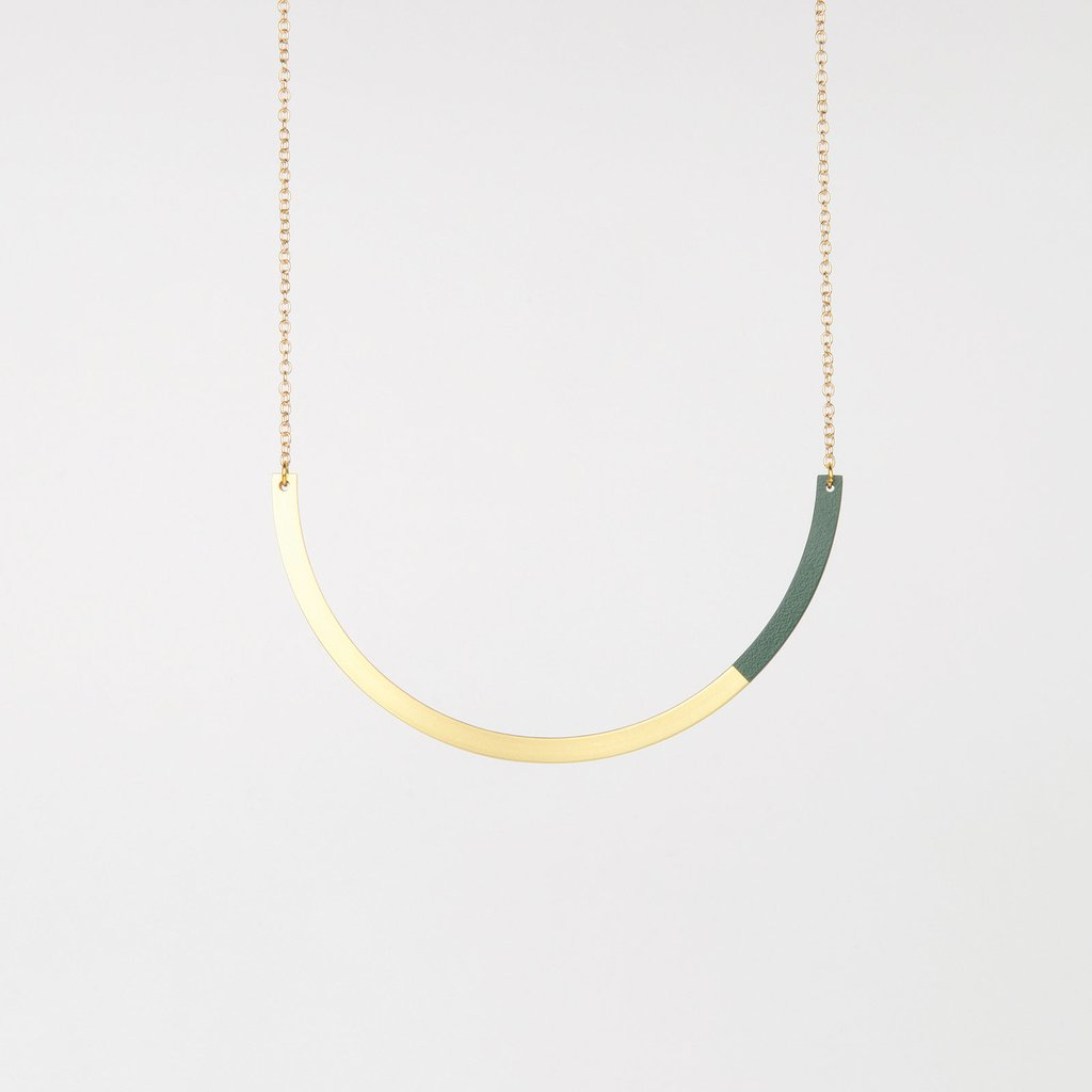 Form Circle Necklace Brass/Forest
