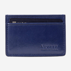 Lotuff Credit Card Wallet Indigo Front with Card