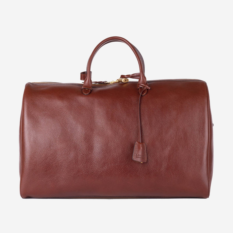 Lotuff No. 12 Leather Weekender Chestnut Side Slanted