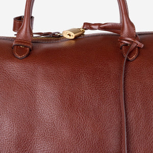 Lotuff No. 12 Leather Weekender Chestnut Front Closeup