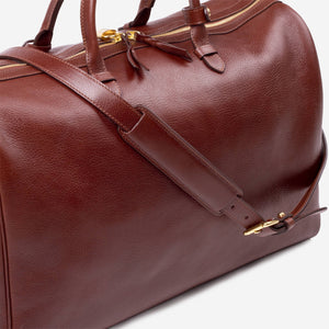 Lotuff No. 12 Leather Weekender Chestnut Front Slanted with Strap