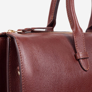 Triumph Briefcase Chestnut Slanted Closeup