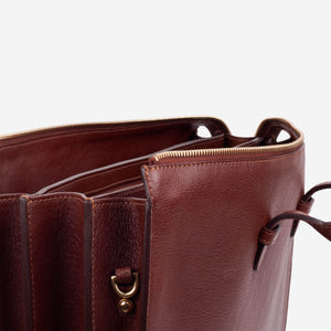 Triumph Briefcase Chestnut Slanted Unzipped