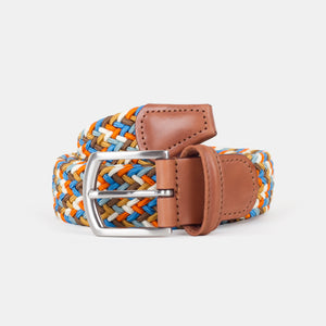Anderson's Woven Nylon Belt Orange/Sky Blue Multi Front