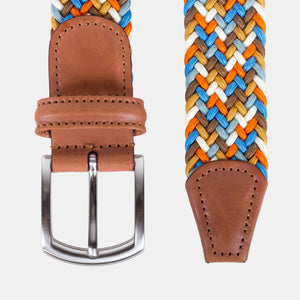 Anderson's Woven Nylon Belt Orange/Sky Blue Multi Top Down