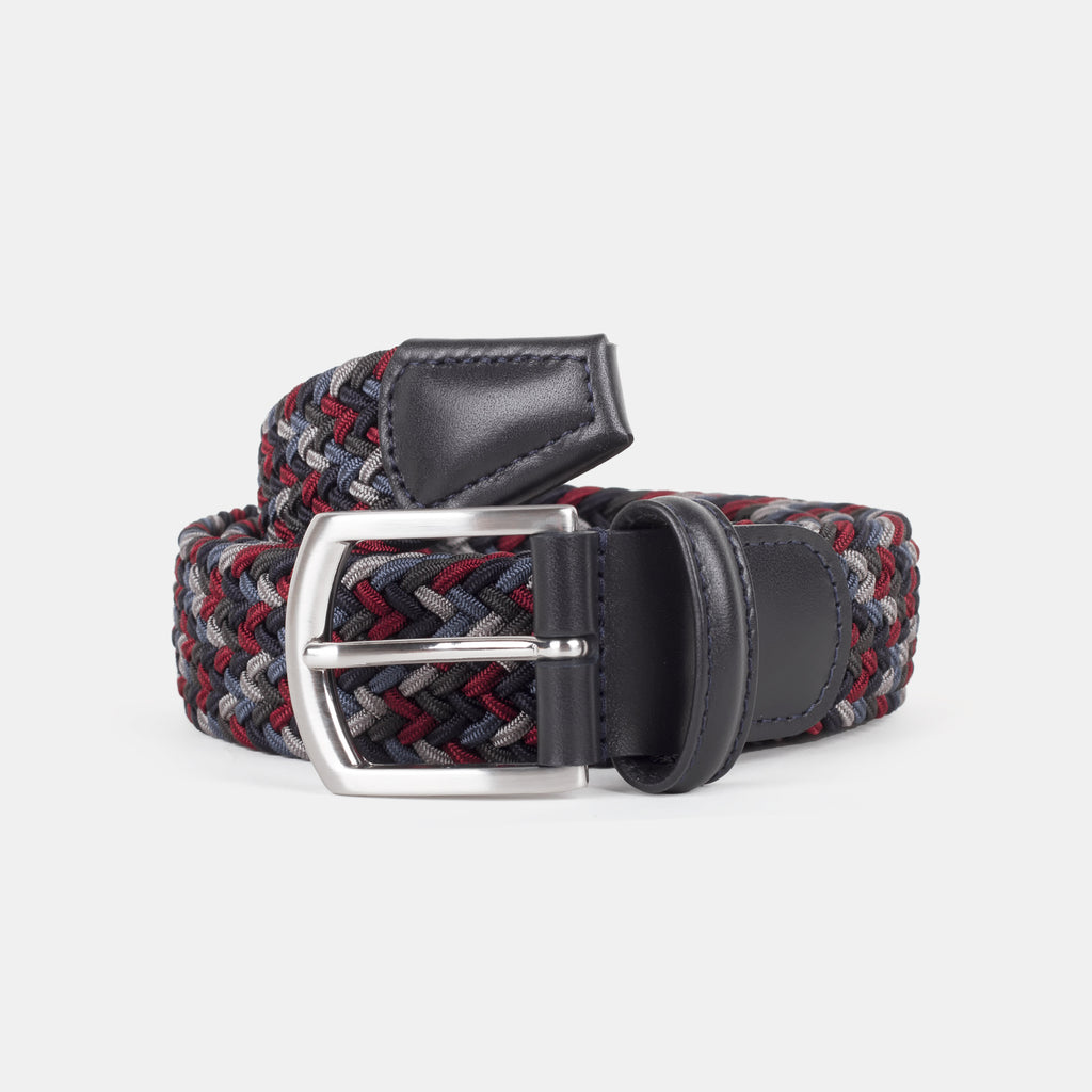 Anderson's Woven Nylon Belt Red/Grey Multi Front