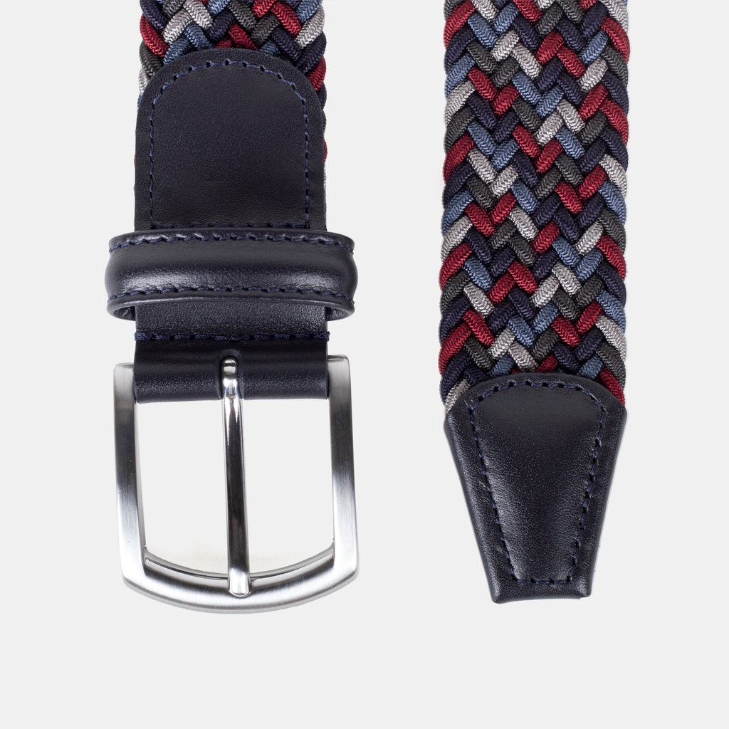 Anderson's Woven Nylon Belt Red/Grey Multi Top Down