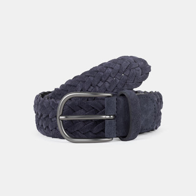 Anderson's Woven Suede Belt Navy Front