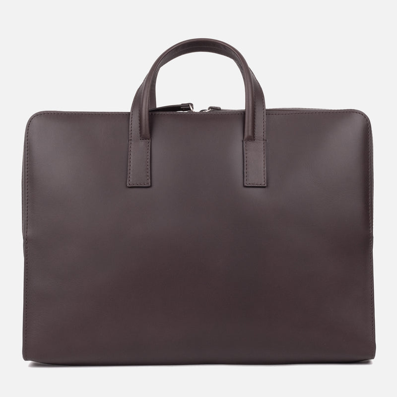Bonastre Briefcase Choc Brown Top Down