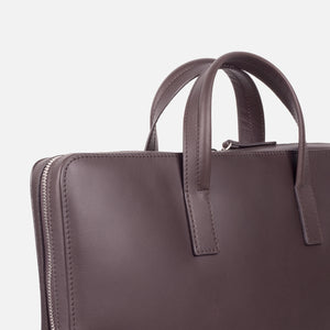 Bonastre Briefcase Choc Brown Slanted Closeup