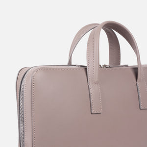 Bonastre Briefcase Grey Slanted Closeup