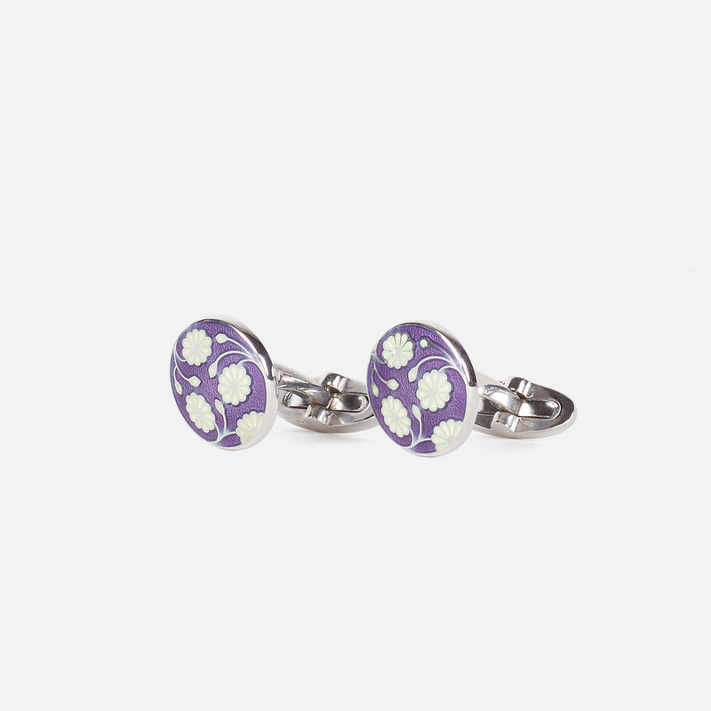Codis Maya Daisy Enamel Lilac/White in Rhodium Plating Side