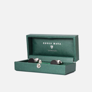 Codis Maya Rhodium Bow Onyx with Box