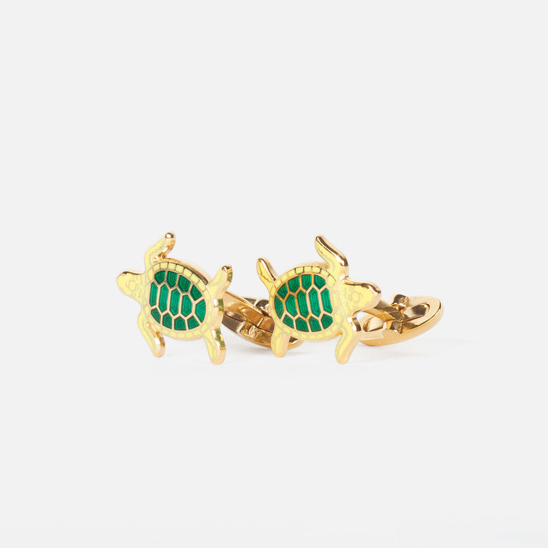 Codis Maya Turtle Enamel Lemon/Emerald in Gold Plating Front