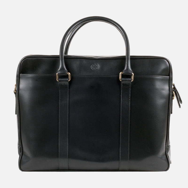 La Portegna Fat Carter Black Full Grain Leather Briefcase Side Closeup 2