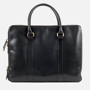 La Portegna Fat Carter Black Full Grain Leather Briefcase Back