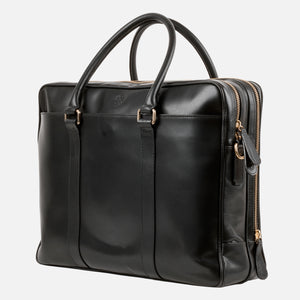 La Portegna Fat Carter Black Full Grain Leather Briefcase Side
