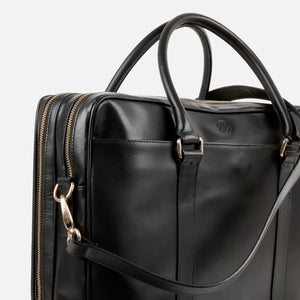 La Portegna Fat Carter Black Full Grain Leather Briefcase Side Closeup 1