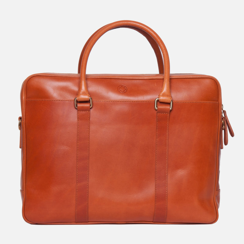 La Portegna Fat Carter Full Grain Leather Briefcase in Hazelnut Side Unzipped Closeup