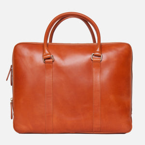 La Portegna Fat Carter Full Grain Leather Briefcase in Hazelnut Back