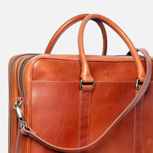 La Portegna Fat Carter Full Grain Leather Briefcase in Hazelnut Side Closeup 1