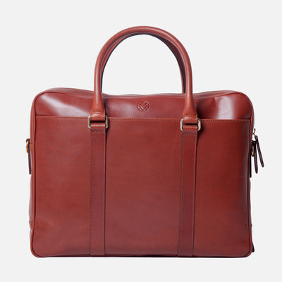 La Portegna Fat Carter Full Grain Leather Briefcase in Sol Front