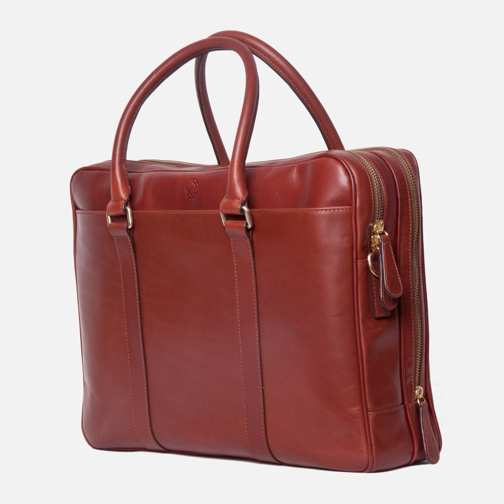 La Portegna Fat Carter Full Grain Leather Briefcase in Sol Side