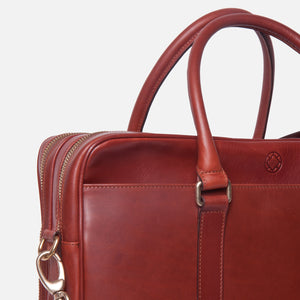 La Portegna Fat Carter Full Grain Leather Briefcase in Sol Closeup Zipped