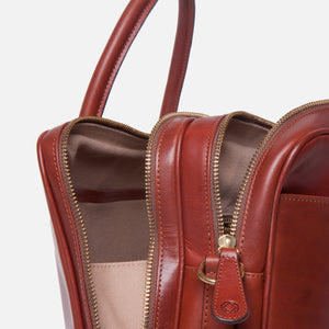 La Portegna Fat Carter Full Grain Leather Briefcase in Sol Side Unzipped Closeup