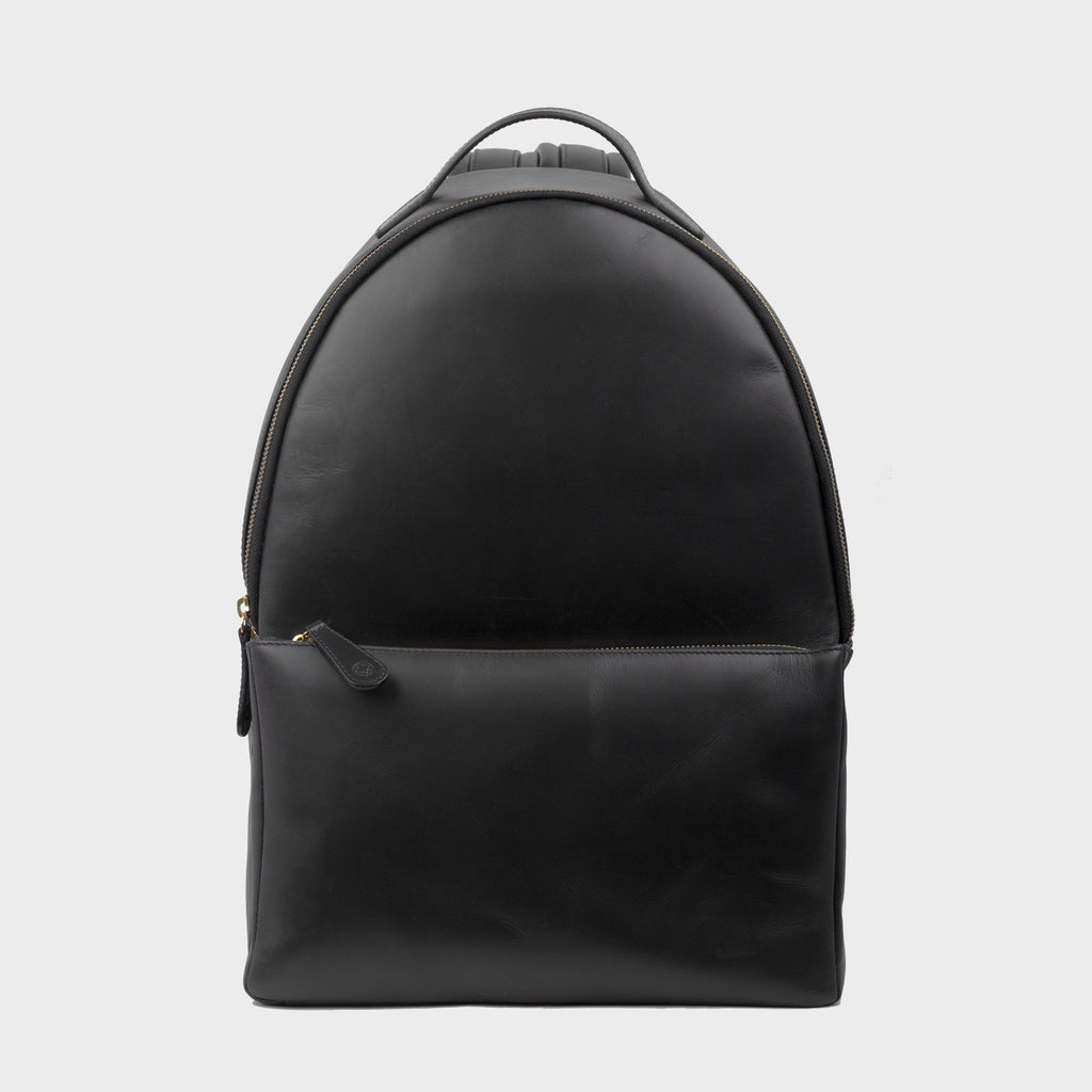 La Portegna Madison Black Full Grain Leather Backpack Front