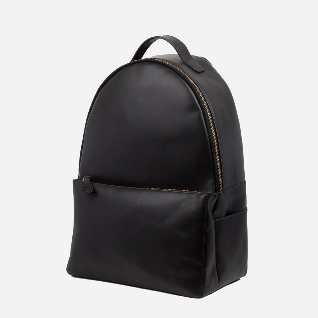 La Portegna Madison Black Full Grain Leather Backpack Side