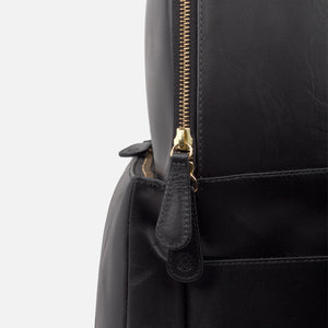 La Portegna Madison Black Full Grain Leather Backpack Side Closeup 1