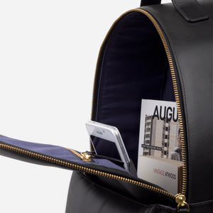 La Portegna Madison Black Full Grain Leather Backpack Unzipped Closeup 2