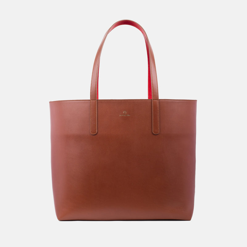 La Portegna Olivia Sol Full Grain Leather Totebag Side Closeup