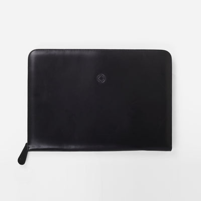 La Portegna Pablo Black Full Grain Leather Portfolio Top