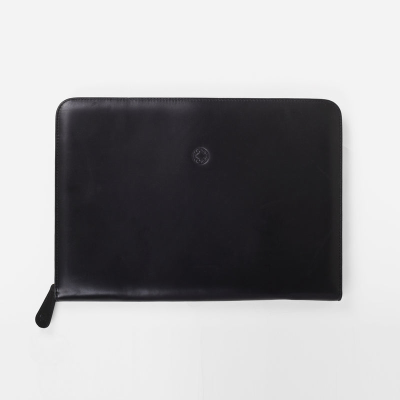 La Portegna Pablo Black Full Grain Leather Portfolio Open Flat Interior