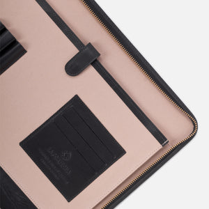 La Portegna Pablo Black Full Grain Leather Portfolio Interior Closeup