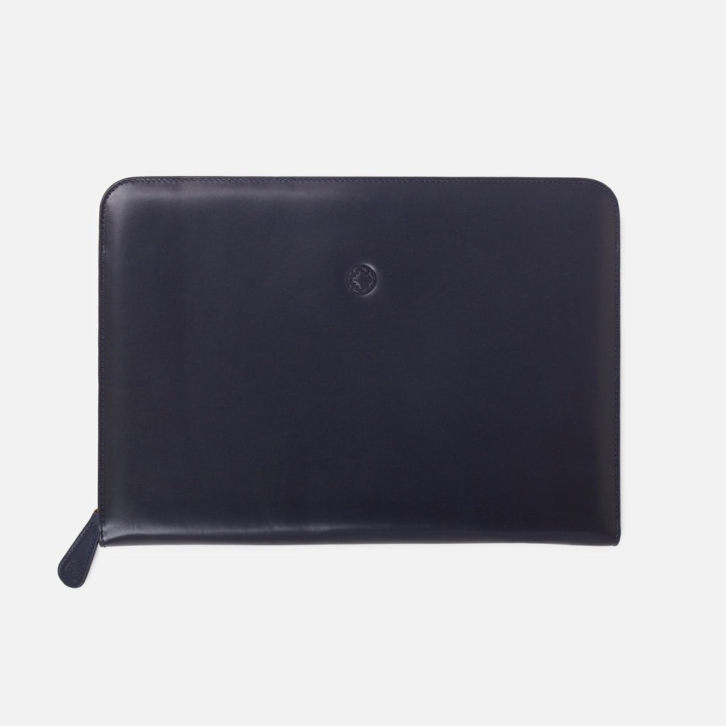 La Portegna Pablo Navy Full Grain Leather Portfolio Top