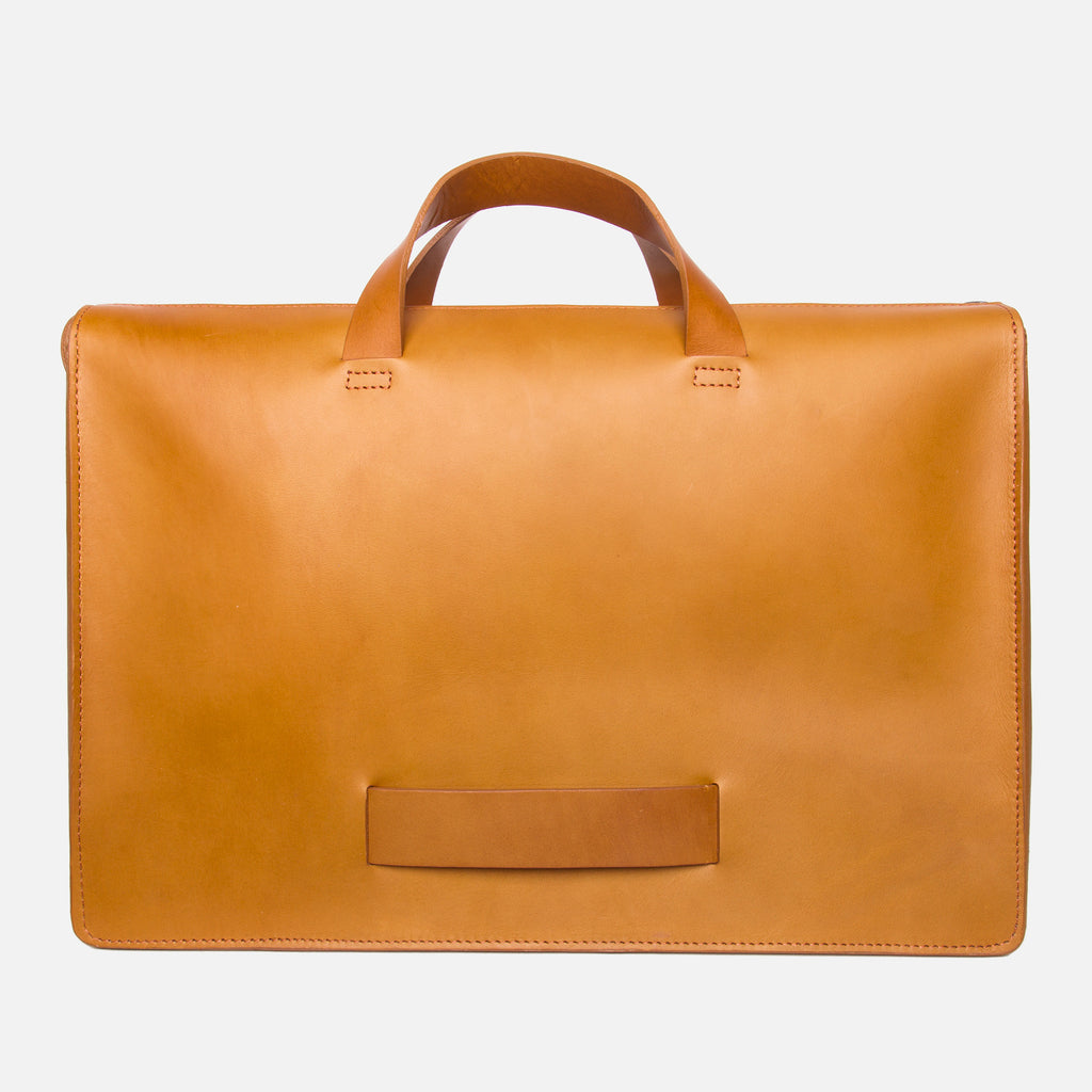 Le Feuillet Briefcase Cognac Lateral Carry Handle