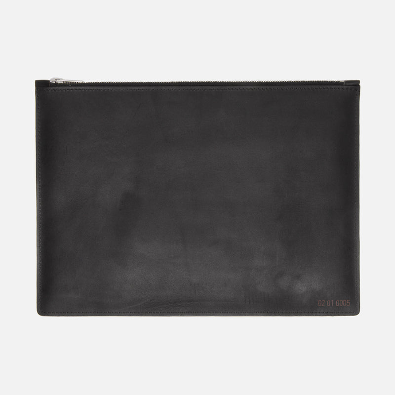 Le Feuillet La Pochette à Main Tablet Black Front with Lateral Strap