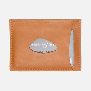 Le Feuillet Porte Carte Cognac Thumbhole With Card