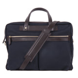 Mismo M/S Office Navy/Dark Brown Front with Strap
