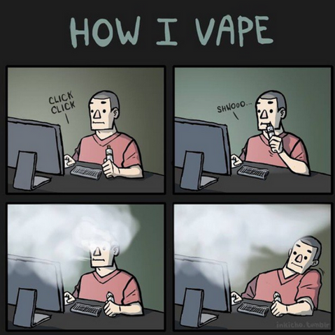 Sitting at a computer vape meme