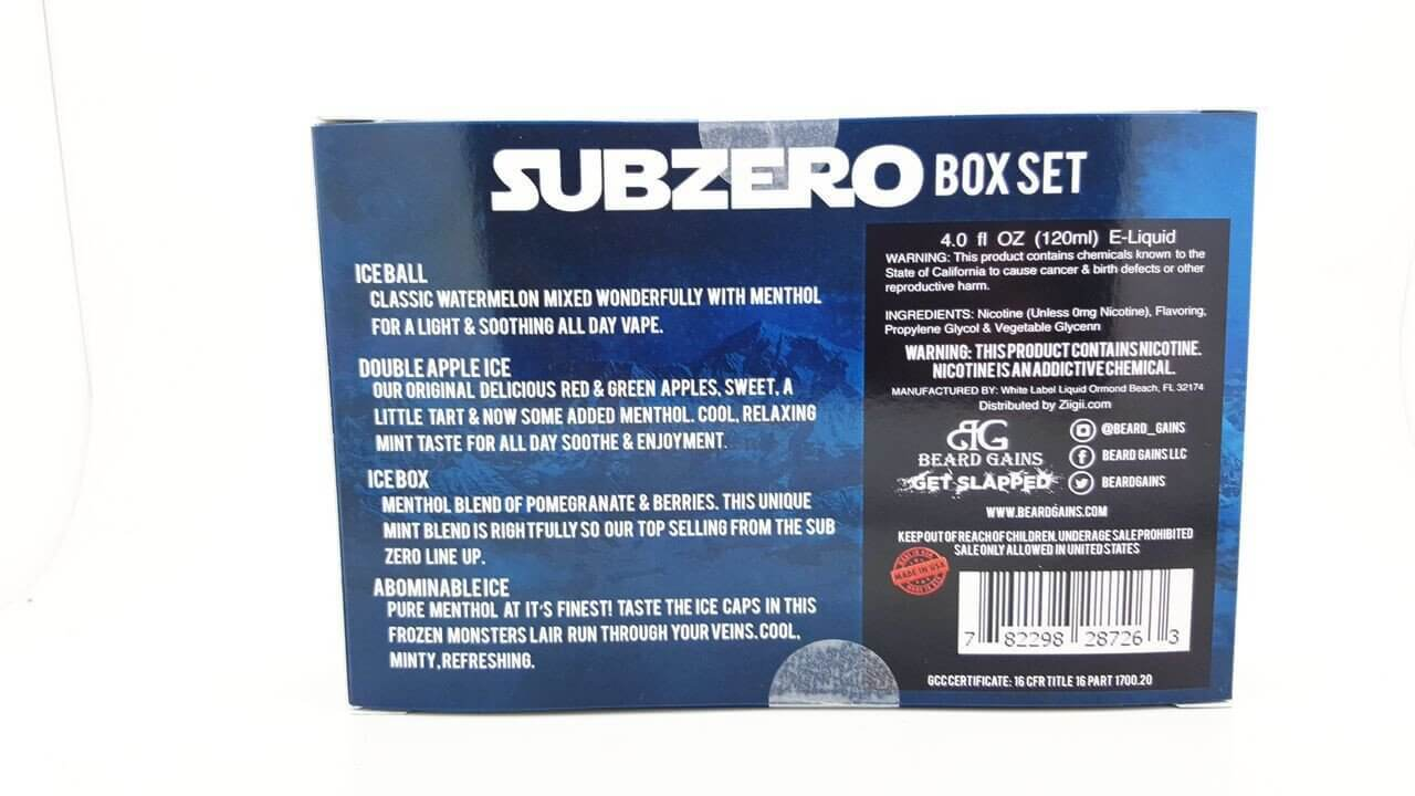Sub Zero 4 Juice Box Set - Beard Gains E Liquid - E Juice - Breazy