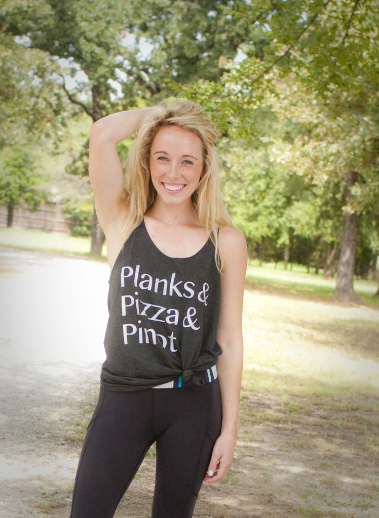 'Planks, Pizza, Pinot' Willow Slouchy Tank